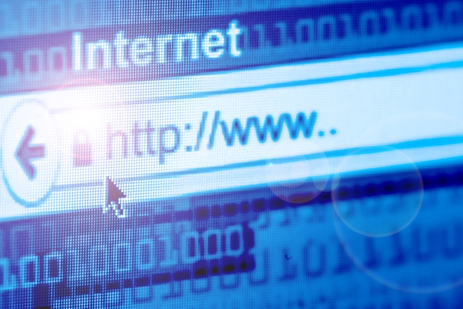 Internet; blue background with flowing binary digits, internet address in browser search bar image