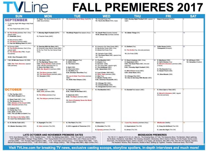 Fall Premiere calendar from pmctvline2
