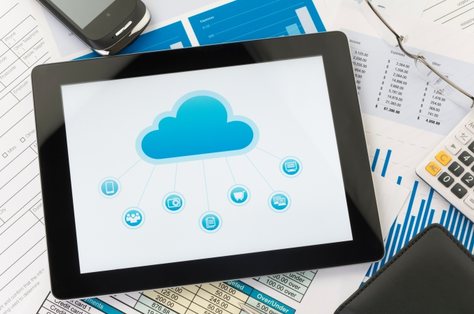 Cloud computing concept on a digital tablet